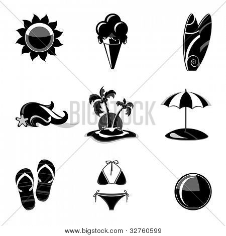 Set of silhouette  beach icons .