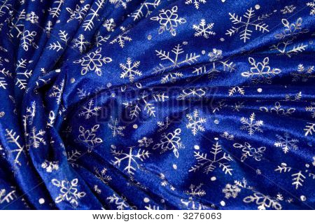 Crumple Blue Cloth With Snowflakes