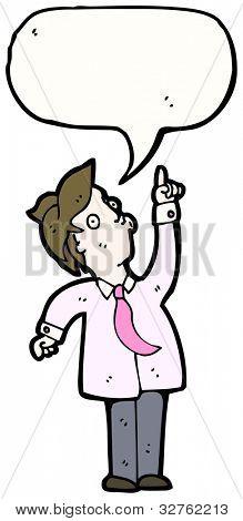cartoon man with speech bubble pointing upwards