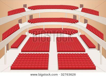 Interior do Teatro Municipal cor plano Vector