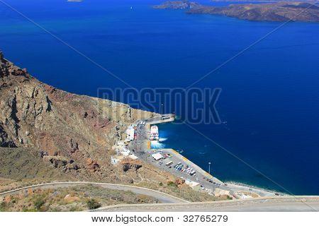 The Athinios  harbor of Santorini island