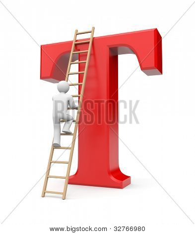 Person climb on T letter