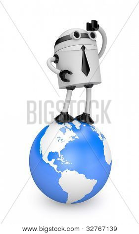 Robot looks forward. Image contain clipping path