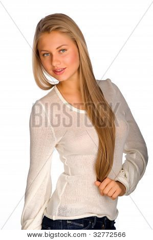 Blonde Girl On White Background