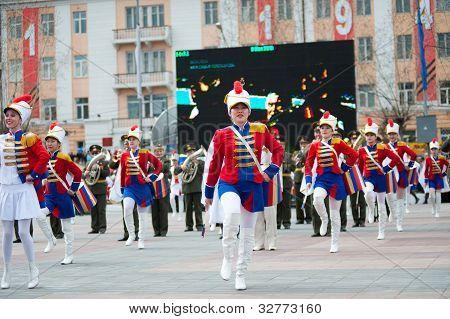 Young Drummer Girls At Parade