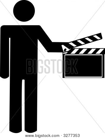Stick Man Holding Clapboard