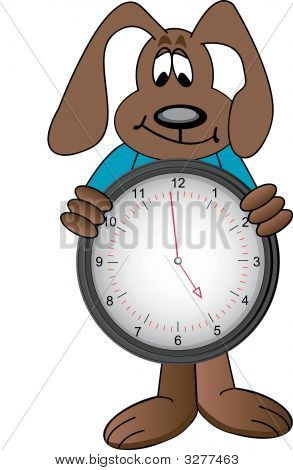 Dog Cartoon Holding Clock