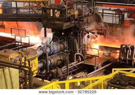 Steel rolling mill.