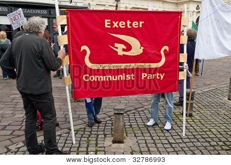 Members of Exeter's Communist Party gather at Exeter Cathedral Yard