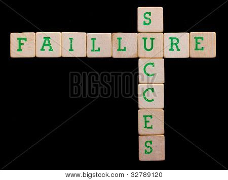 Letters On Old Wooden Blocks (faillure, Succes)