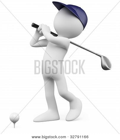3D Golfer - Teeing Off Golf Ball