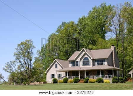 Modern Rural House With Porch And Yard