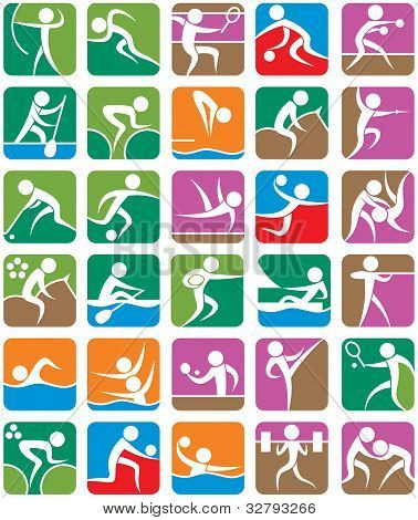Summer Sports Symbols - Colorful