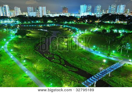 Aerial view of Bishan Park by night