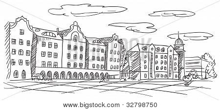 Old European Town Cityscape Vector