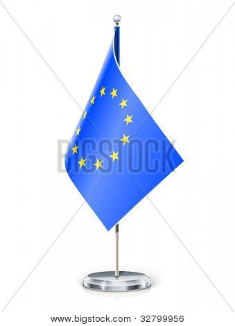 European Union's flag on flagstaff and support vector illustration EPS10 isolated on white background. Transparent objects and opacity masks used for shadows and lights drawing