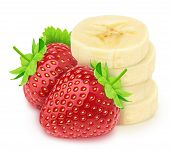 Composite Image With Heap Of Banana Slices With The Strawberries Isolated On A White Background. poster