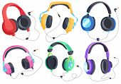 Headphones For Listening To Music, Headphone Vector Set, Over-ear Headphones, Multi-colored Headphon poster