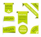 Healthy Nature Organic Vegan Emblem. Fresh Nutrition Tag, Logo. Labels Ecology Food. Set Certified P poster