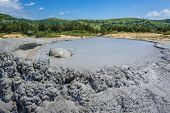 Close Up On A Gas Bubble Of Mud Volcano In Berca Mud Volcanoes Area In Romania poster