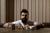 Barbershop. Sandalwood Shaving Cream. Barber Shop. Bearded Man. Making Haircut Look Perfect In Barbe poster