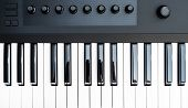 Professional Midi Keyboard Synthesizer With Knobs And Controllers. Top View. poster