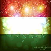 Bright Firework With Flag Of Hungary. Happy Hungary Day Flag Background. Vector Illustration. poster