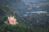 Top View Castle Hohenschwangau In Germany. The Royal Palace In Bavaria. The Yellow Famous Palace Is  poster