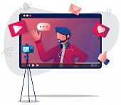 Flat Design Illustration With Male Vlogger Or Influencer, Recording New Video. poster