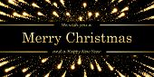 Marry Christmas And Happy New Year Card, Magic Firework, Black Background. Gold Text, Symbol Holiday poster
