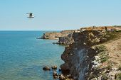 Scenic View Of Huge Cliffs And Sea. Dangerous Rocky Cliffs Jagged To Ocean. Peaked Rocks And Cliffs  poster