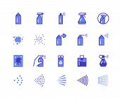 Spray Line Icons. Cleaning And Painting Spray Flat Symbols For Labels And Logos, Spray Cans Deodoran poster