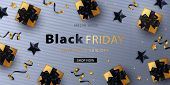 Black Friday Sale Banner, Poster Or Flyer Design With Gold Black Confetti, Gold Gift Boxes With Blac poster