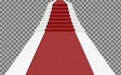 Staircase 3d With Red Carpet. Staircase For Celebrity Or Staircase To Success Isolated On A Transpar poster