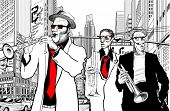 stock photo of saxophone player  - Illustration of a jazz band in a street of new - JPG