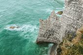 West Coast Of France. Étretat. Great View From A Great Height. The Sea Beats Against Rocks And Stone poster