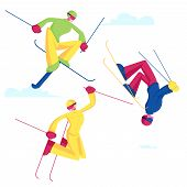 Sportsmen Freestyle Skiing Jump. Winter Sport Activity Combine Skiing And Acrobatics Stunts. Aeriali poster