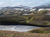Landmannalaugar Colorful Rhyolit Mountains With Snow Fiields On Famous Laugavegur Trek. Fjallabak Na poster