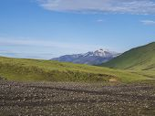 Volcanic Landscape With Snow-capped Mountains Of Tindfjallajokull Glacier Massif, Green Hills And La poster