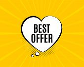 Best Offer. Chat Speech Bubble. Special Price Sale Sign. Advertising Discounts Symbol. Yellow Vector poster