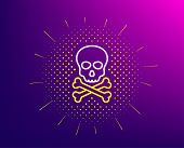 Chemical Hazard Line Icon. Halftone Pattern. Laboratory Toxic Sign. Death Skull Symbol. Gradient Bac poster