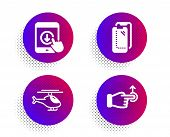 Scroll Down, Helicopter And Smartphone Glass Icons Simple Set. Halftone Dots Button. Drag Drop Sign. poster