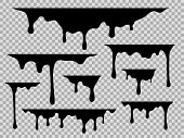 Drips. Dripping Liquid Black Paint, Current Drops Stains Graffiti Silhouette Fluid Trickles, Drip Me poster
