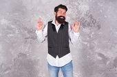 Living Happy Life. Happy Hipster Gesture Ok On Abstract Wall. Emotional Guy With Long Mustache And B poster