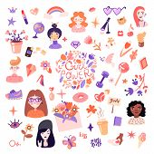 Feminist And Cute Girl Power Illustration Set. Girls Portraits, Flowers, Stickers, Sweets With Flora poster