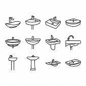 Sink Icon Set, Silhouette Sink, Wash Basin, Faucet Icon Set In Thin Line Style poster