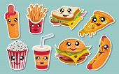 Vector Set Of Cute Kawaii Fast Food. Kawaii Faces. Cartoon Fast Food. Kawaii Eyes. Cute Junk Food Fa poster