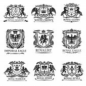 Shield Badges And Emblems Vector Design Of Royal Heraldry. Heraldic Coat Of Arms With Lions, Eagles  poster