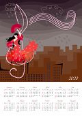 Beautiful Calendar For 2020 Year With Illustration With Girl In Red Dress, Dancing Flamenco, Standin poster