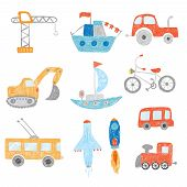 Children Drawing. Kids Painting Transport Cars Tractors Ship Plane Toys Doodle Vector Hand Drawn Col poster